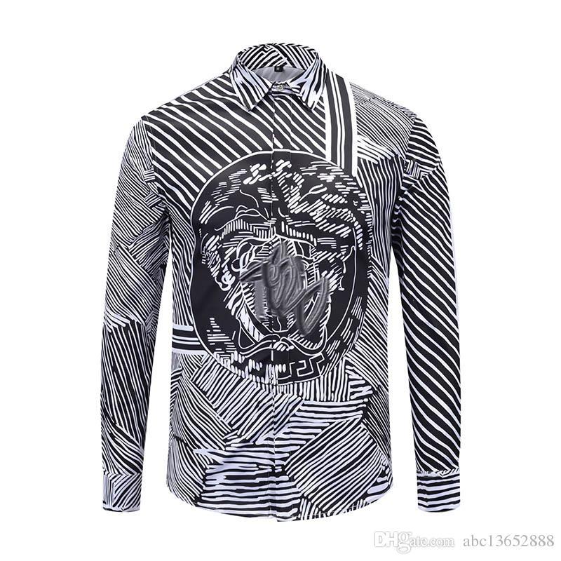 The latest hot wholesale Medusa printing luxury men's dress Slim fit men's  shirt black print casual business shirt social clothing