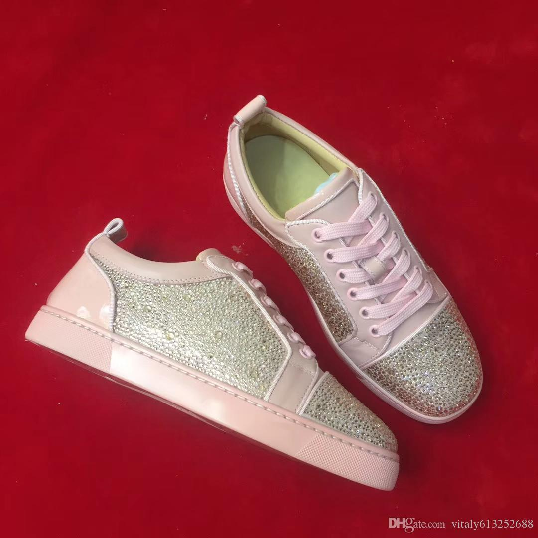 Women Shoes Pink Leather Shiny Spikes Low Top Lace Up Luxury Brand ... 3857e5a8d909