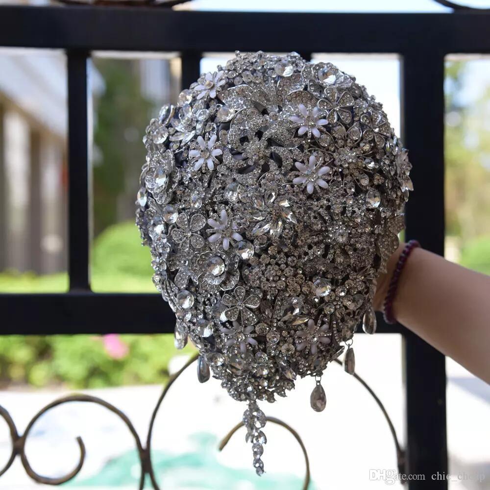 Luxueux Cristal De Mariée De Mariage Fleurs Vintage Bouquet De Mariée Nouvelle Arrivée Fournitures De Mariage Fournitures Bling Bling Fleurs De Mariée