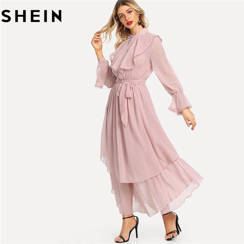 ce54b1acbb SHEIN Pink Long Flared Sleeve Belted Hem Women Maxi Dresses Autumn New  Office Lady Ruffle Detail Crochet Trim Solid Flowy Dress Floral Cocktail  Dresses ...