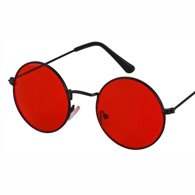 c523ce3867a67 Compre Homens Óculos De Sol Do Vintage Grande Preto Vermelho Redondo Óculos  De Sol Das Mulheres Do Sexo Masculino Feminino Armação De Metal Rainbow  Color ...