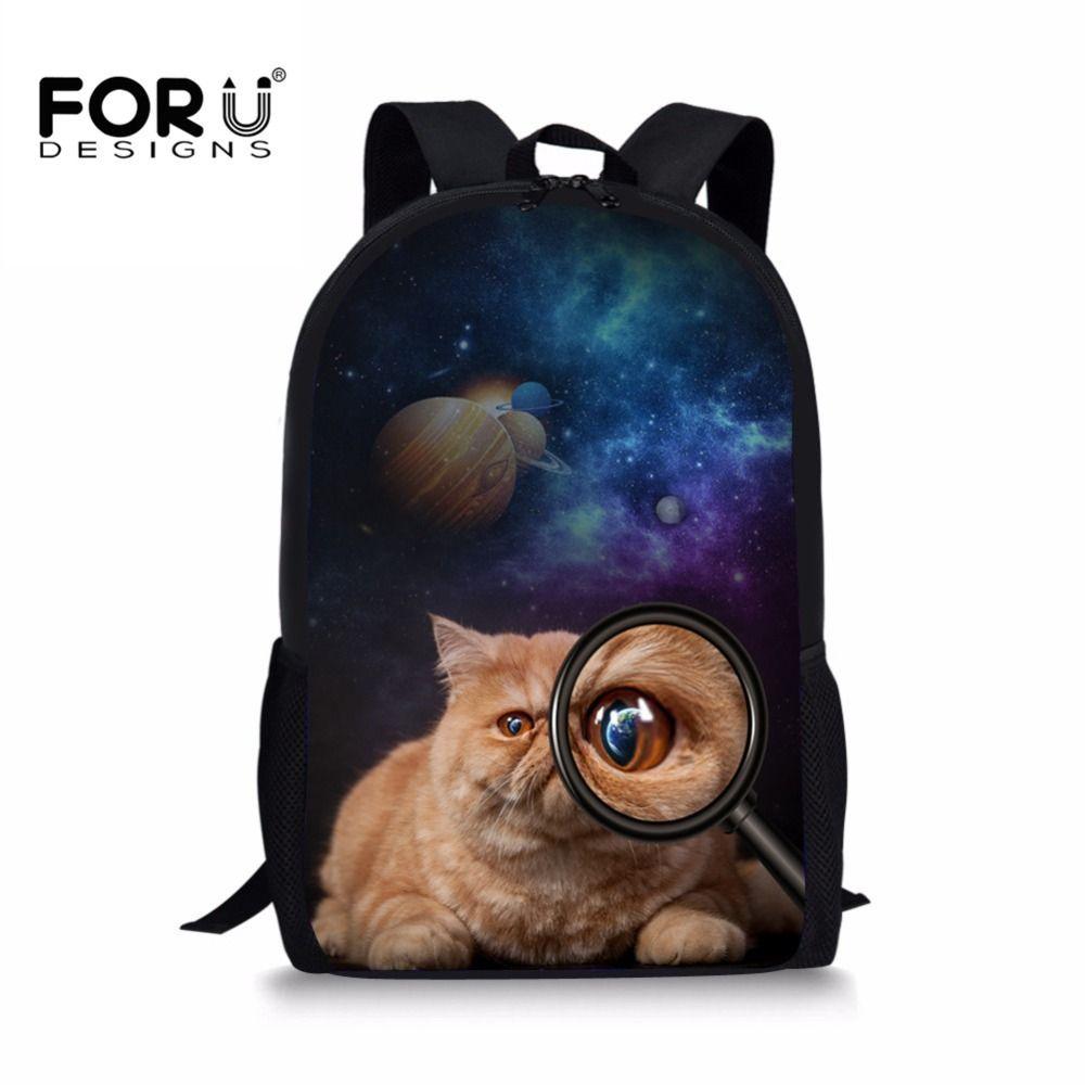 95d4c09581fa FORUDESIGNS 2018 New Children School Bags Galaxy Cat Printed Primary ...