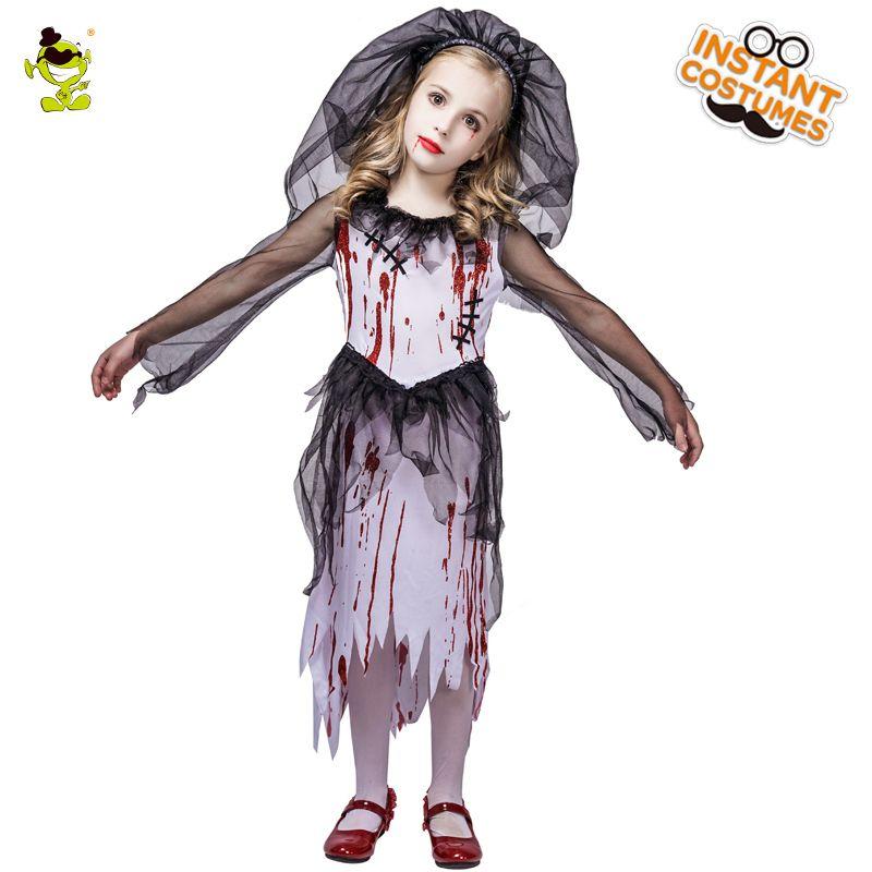 330f644e5cff Acquista Nuovi Bambini Halloween Horror Bloody Bride Costumi Del Partito  Fantasma Sposa Costume Cosplay Ragazze Blood Dress Masquerade Vampiro  Vestiti A ...