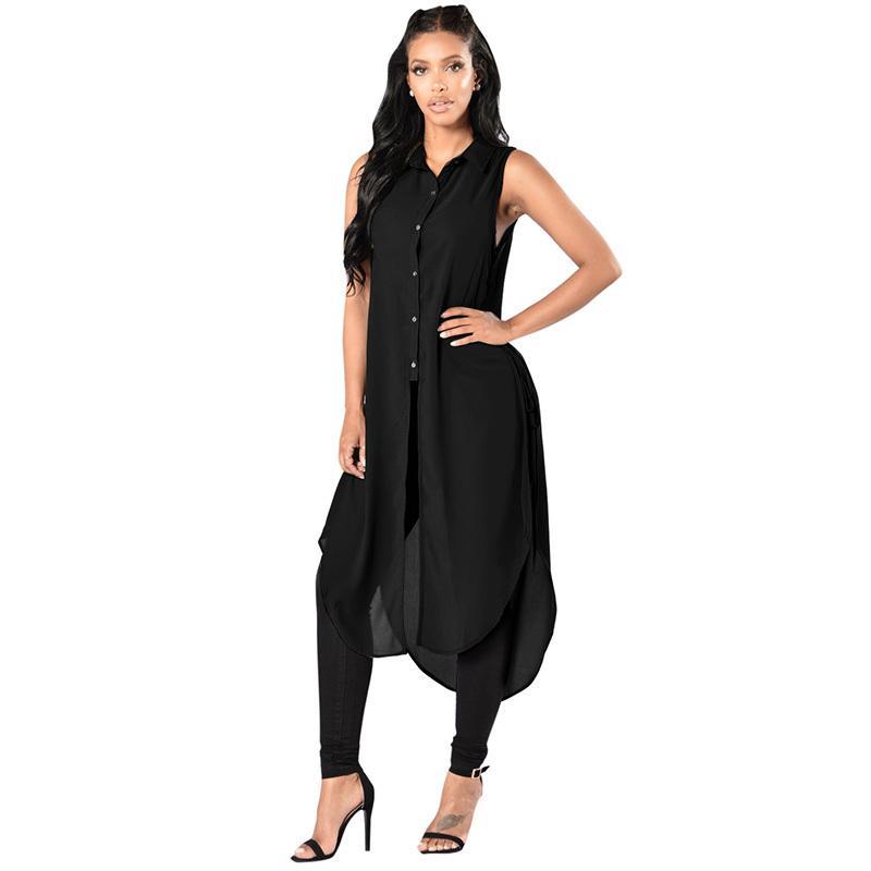 6ca1bf3f77e798 2019 Women Sleeveless Long Shirt Lace Up Sides High Slit 4XL 5XL Plus Size  Chiffon Shirt Button Down Blouse Casual Summer Long Top From Fafachai07