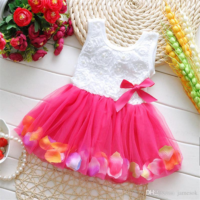 babies clothes Princess girls flower dress 3D rose flower baby girl tutu dress with colorful petal lace dress Bubble Skirt baby clothes TO4