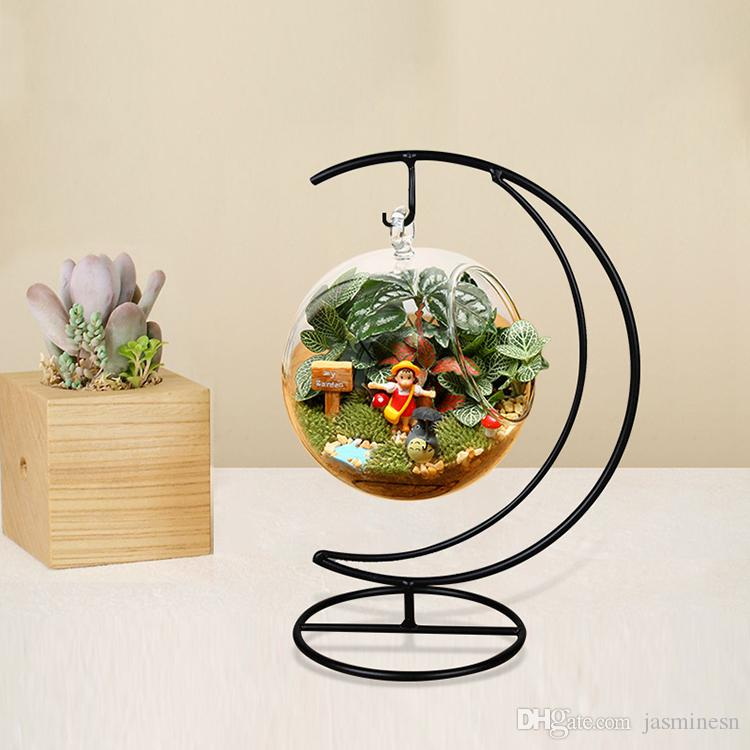 Hanging Glass Globe Terrarium With Metal Stand For Home Decoration