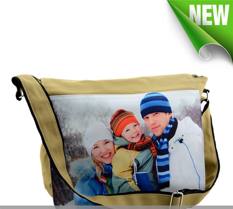 Borsa a tracolla in tela borse sublimazione la tua foto personalizzata tranfer stampa vuota in bianco borsa a spalla singola cachi all'ingrosso