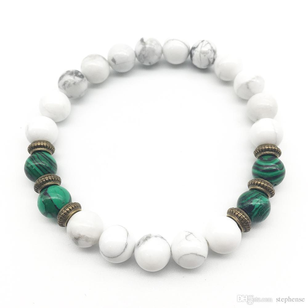 Il braccialetto bianco di yoga di Howlite dei monili d'avanguardia del braccialetto d'avanguardia del braccialetto del loto del `s delle donne di modo SN1251 comercia il trasporto libero all'ingrosso