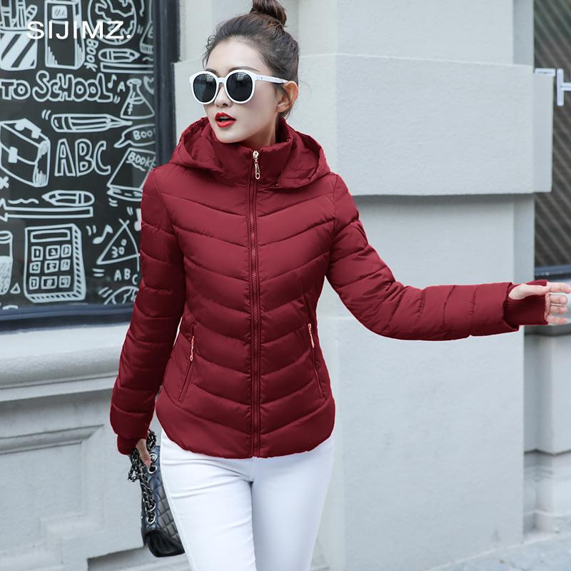 7aed84f8fc025 2019 2019 2018 Winter Jacket Women Plus Size Womens Parkas Thicken  Outerwear Solid Hooded Coats Short Female Slim Cotton Padded Basic Tops  From Wear0