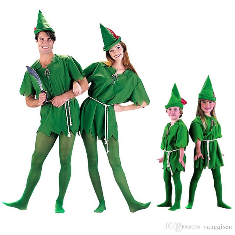 Free Shipping Kids Adult Peter Pan Costume Halloween Costume for Men Women Green Elf Parent-child Christmas Costumes