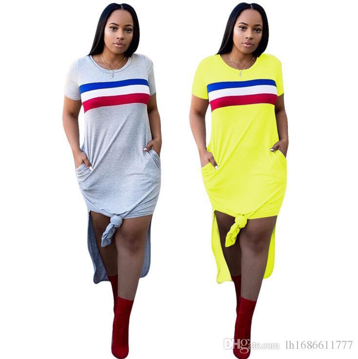 c425c7e8e5317 Casual Summer Women Dress Short Sleeve Round Neck Slim Fit Bodycon Dress  Striped Side Split T Shirt Womens Dresses Sundress On Sale Dresses For Women  Summer ...