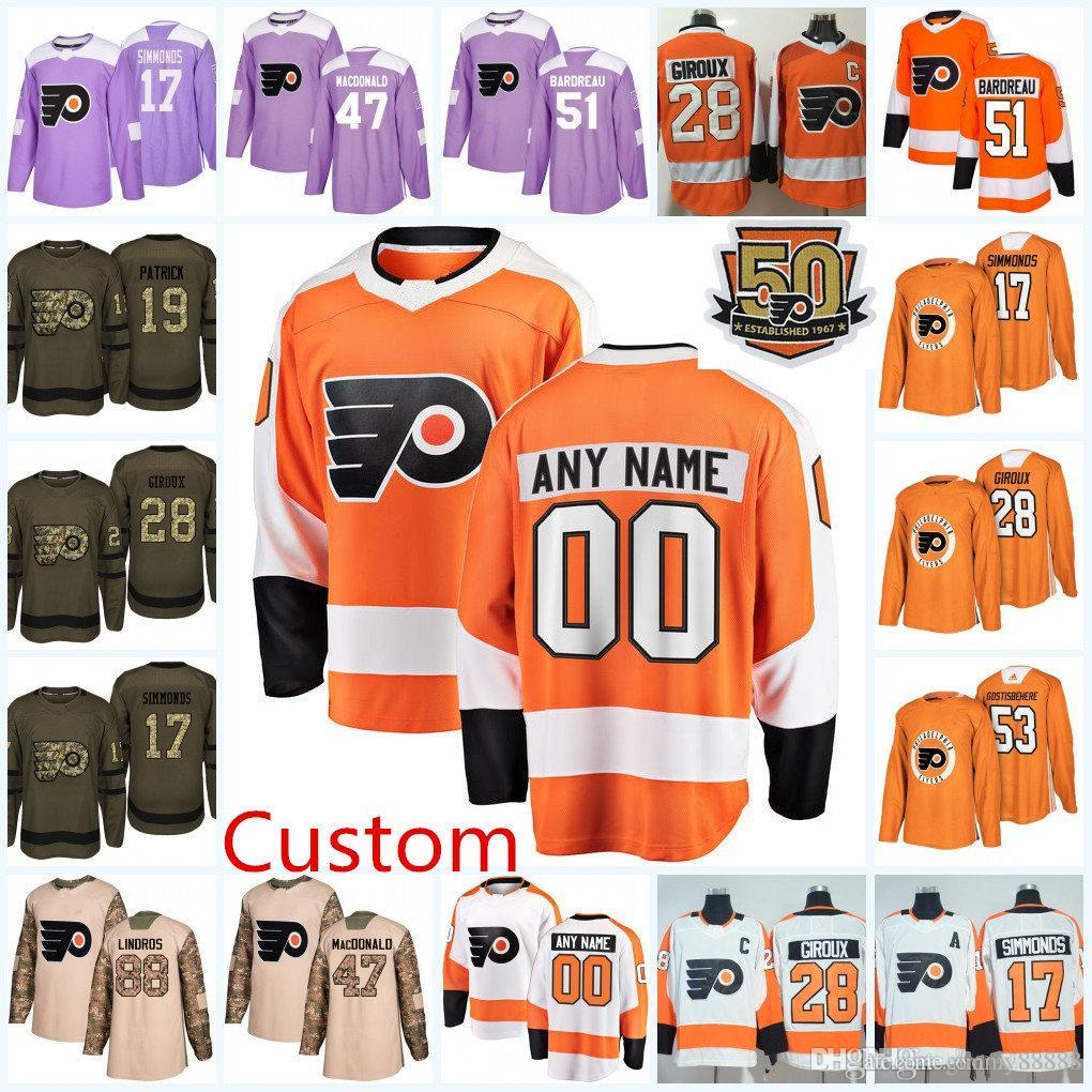 Mens 2018 New AD Custom Philadelphia Flyers Hockey Jersey Philadelphia  Flyers Eric Lindros Bill Barber Bobby Clarke Flyers Personal Jersey  Philadelphia ... 85c91dd39