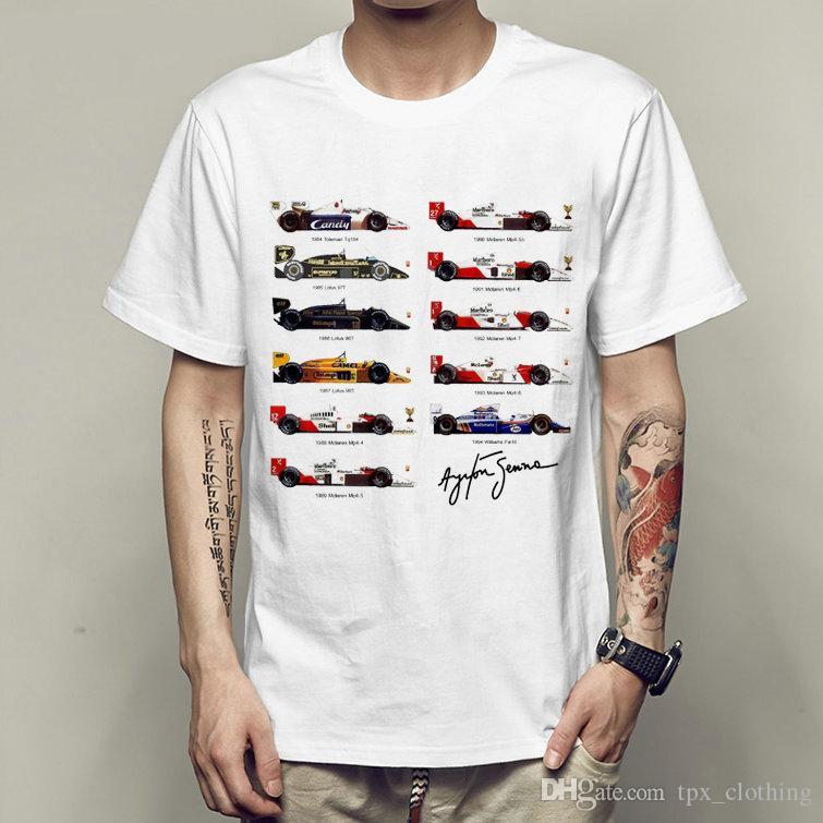 Compre Ayrton Senna T Shirt Automóvil Carrera Manga Corta Vestido ... 5ac4e154b8651