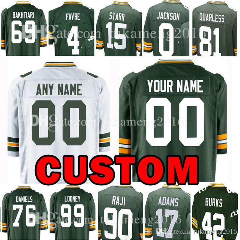 9d5330e8ce1 Custom Green Bays 17 Davante Adams Jersey Packer 15 Bart Starr 4 Brett  Favre 99 James Looney 76 Mike Daniels 33 Aaron Jones 21 Mike Hughes 49  Tremaine ...