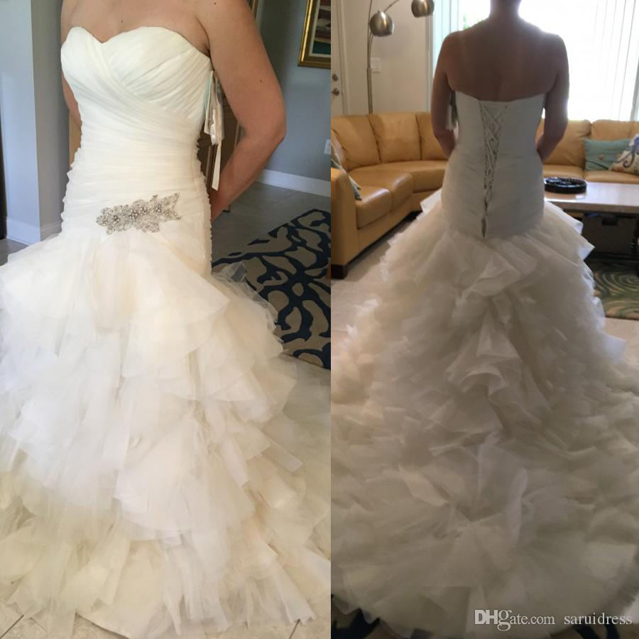 Diamante Applique On Ruffle Organza And Drop Waist Mermaid Plus Size Wedding Dress Sweetheart Neckline And Corset Back Closure Bridal Gown