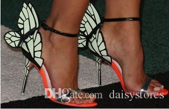 2017 Sıcak satış Tasarlanmış Kelebek Kanatları Lady Yüksek Topuklar Pompalar Burnu açık metalik işlemeli deri sandalet Parti Pompaları