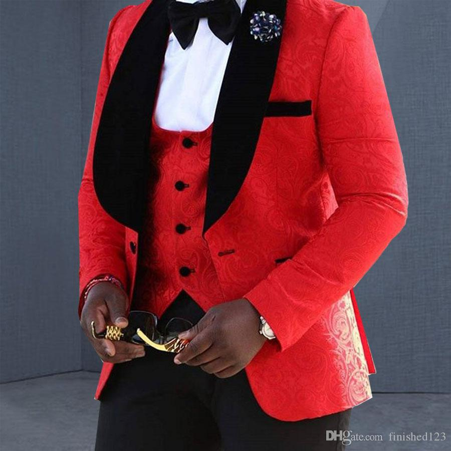 Excellent Style One Button Red Groom Tuxedos Shawl Lapel Groomsmen Best Man Suits Mens Wedding Suits (Jacket+Pants+Vest+Tie) NO:1099