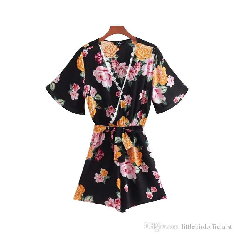 Col en V patchwork patchwork floral jupettes écharpes à manches courtes barboteuses à plis dames vintage casual chic