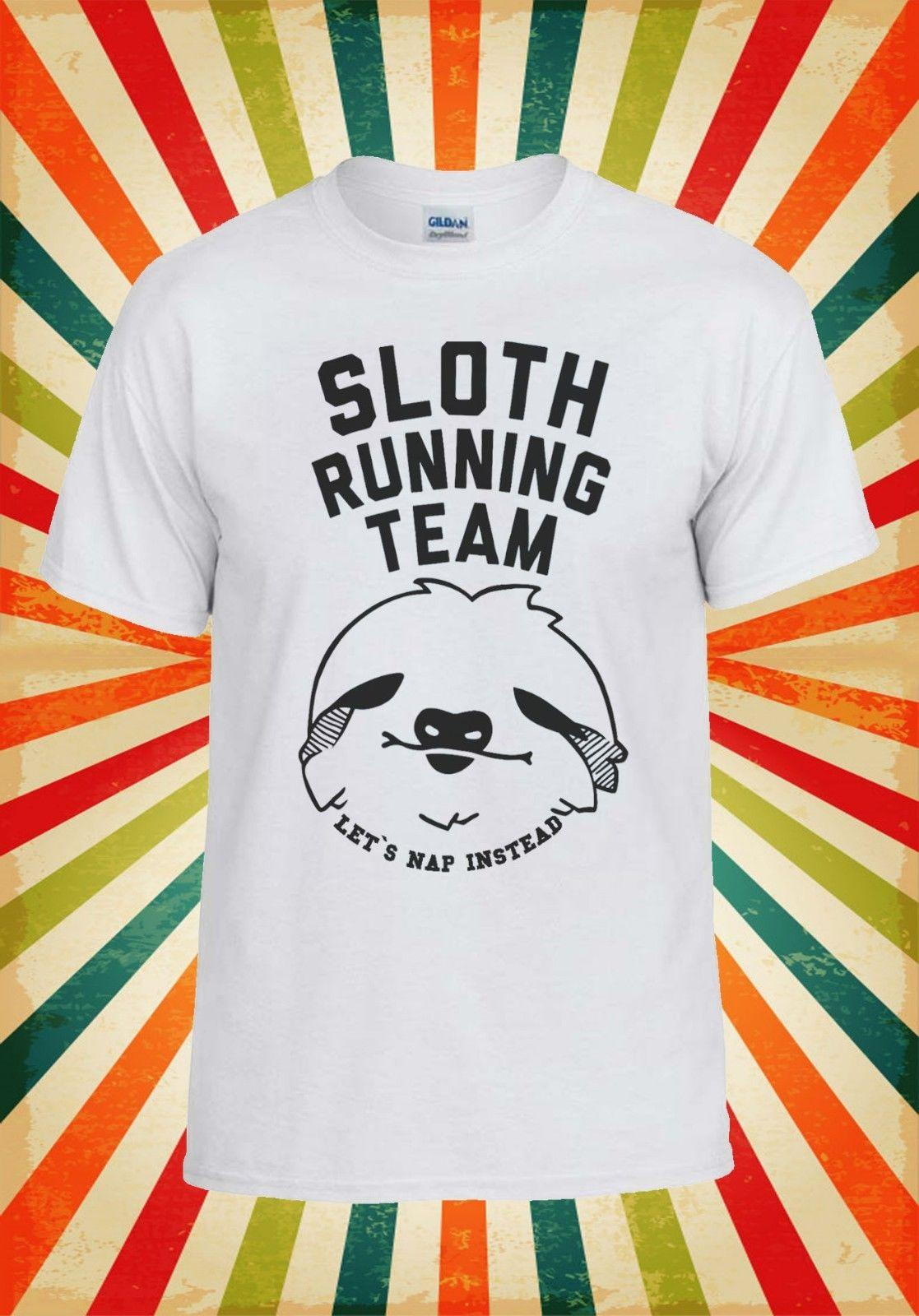 d8e3add5d Sloth Running Team Novelty Cool Men Women Vest Tank Top Unisex T Shirt 1125  Funny Gift Short Tops Round Neck Tees T Shirt Shirt Awesome T Shirts For  Guys ...