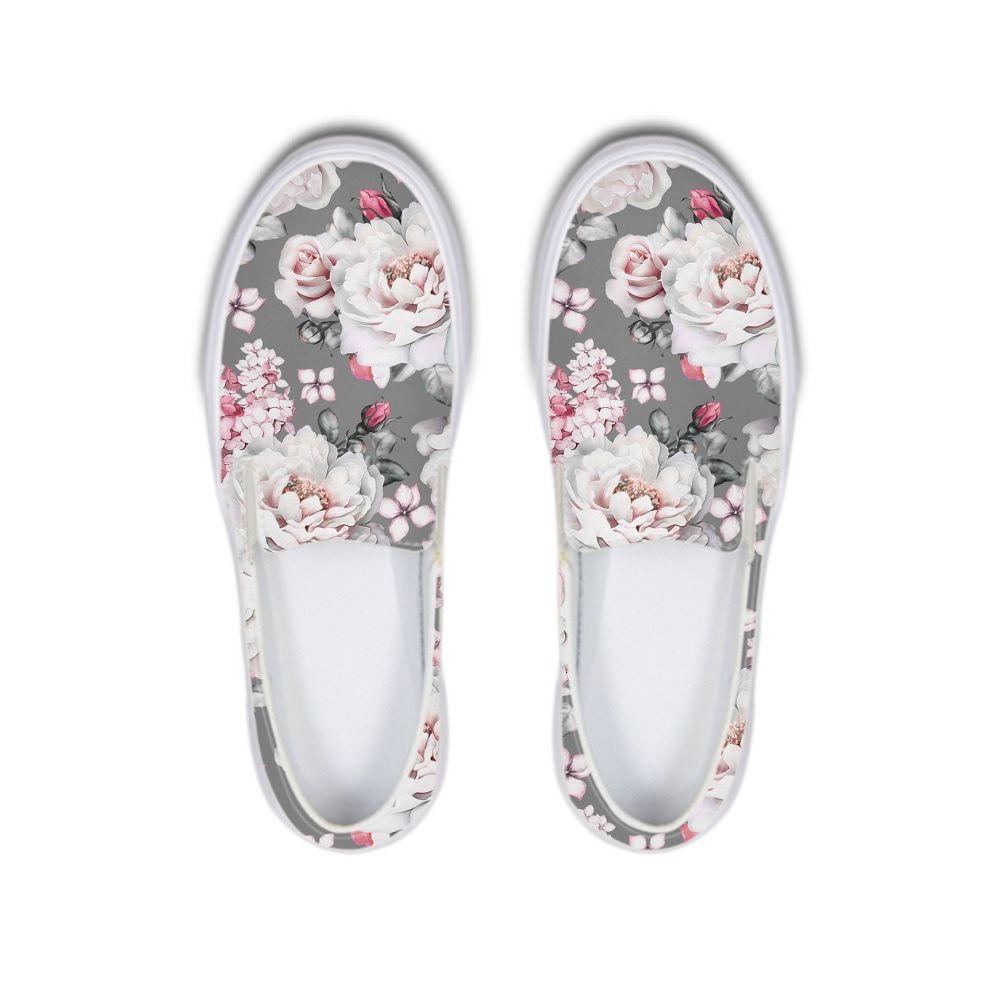 Vintage Floral Schuhe für Frau Blume Gedruckt Damen Sneakers Slip On Canvas Wohnungen Schuhe Für Frauen Gummi Plattform Müßiggänger