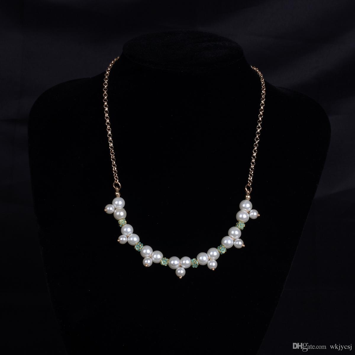 4000b926f952 Compre Collar Blanco Y Dorado Joyas Fornidas Collar De Perlas ...