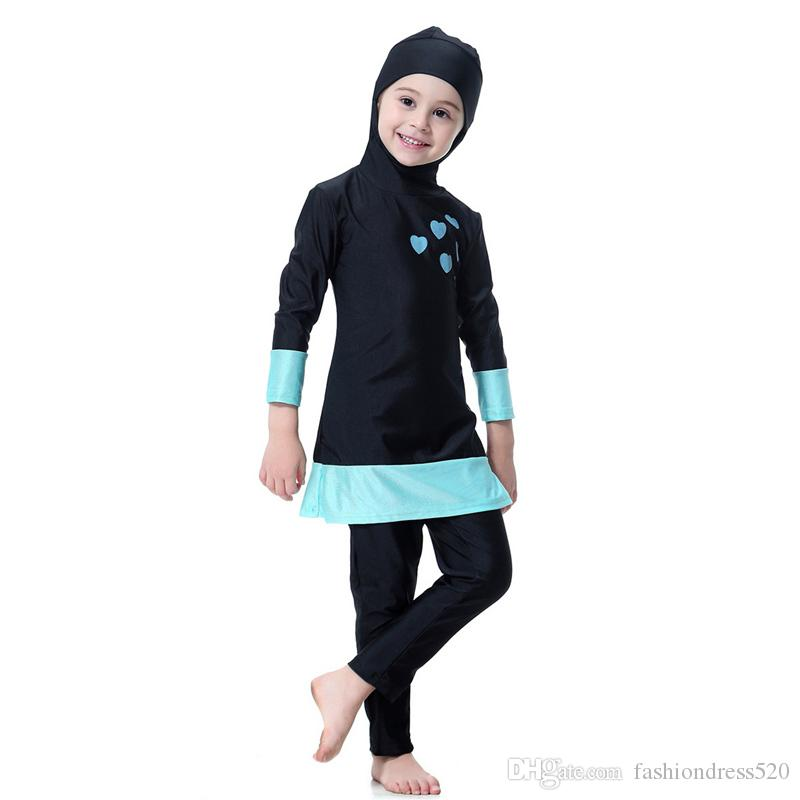 8f1d238cbb 2019 2018 Muslim Girl Swimwear Hijab Islamic Lovely Swimsuit For Kids  Children Beach Wear Moroccon Swimming Clothes Bathing Suit From  Fashiondress520