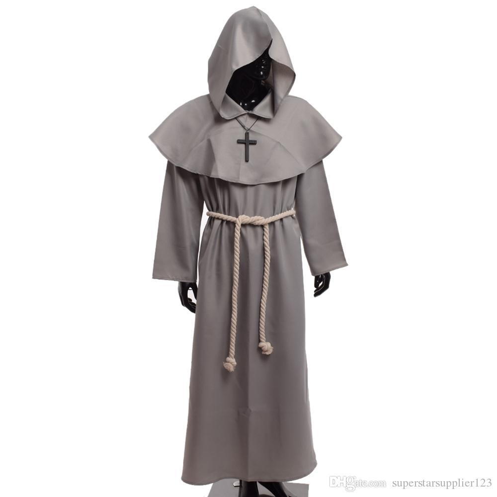 중세 수사 의상 빈티지 르네상스 신부 성인 남성 선물을위한 십자가 목걸이와 함께 몽크 카울 로브의 코스프레 복장