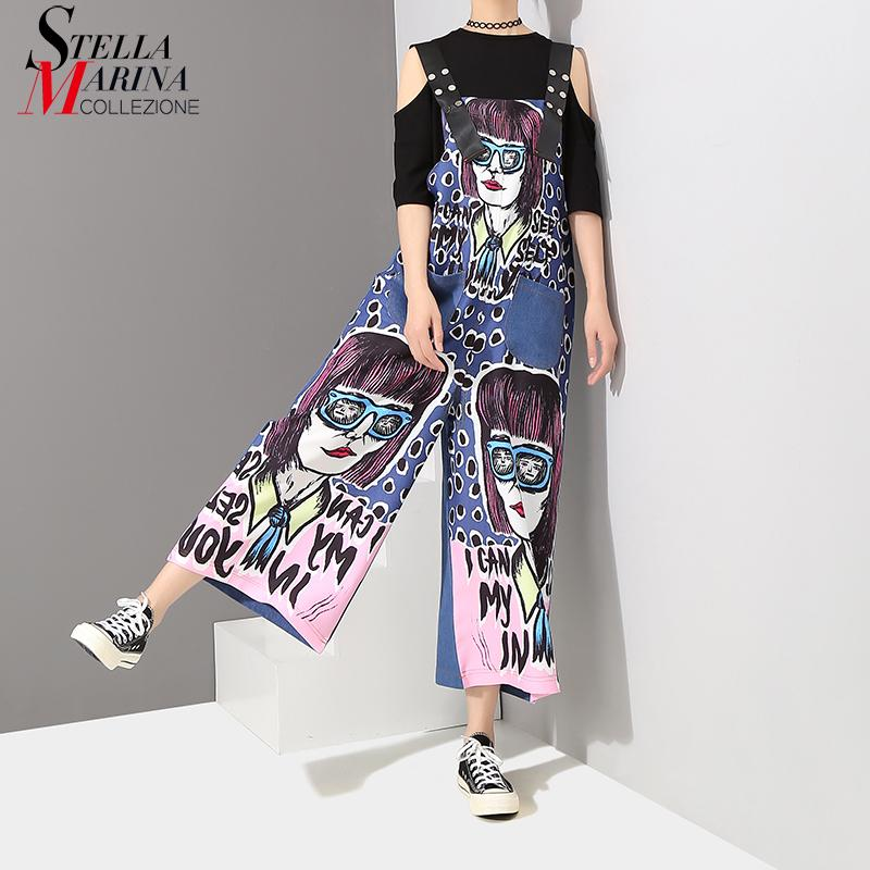 6b29822272f 2019 New 2018 Korea Style Women Printed Blue Denim Straps Romper Jumpsuit  Cartoon Printed Girls Stylish Suspenders Pants Overall 3577 From  Bclothes001