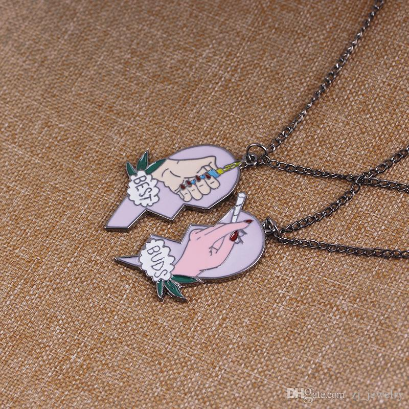 Best Buds Necklace Set Buds Necklaces Hand Holding Cigarette Lighter Necklace Best Friend Necklace Friendship Gift Jewelry Valentine Day
