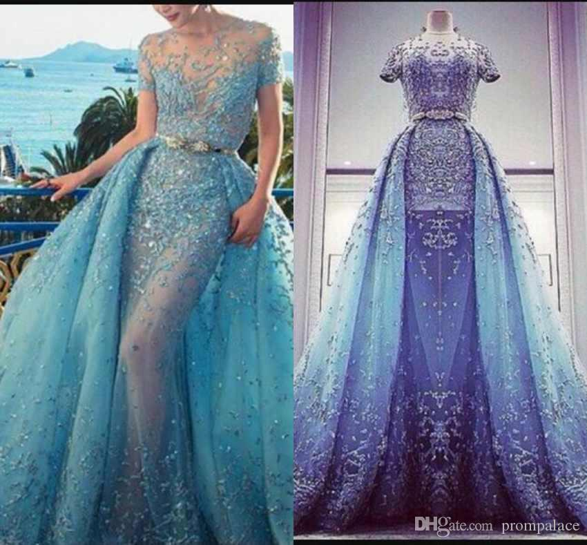 9fd4f4cb0f Fashion Light Blue Evening Dresses With Overskirt Crystal Lace Appliques  Jewel Neck Short Sleeves Sexy See Through Luxurious Prom Dresses Uk Evening  Dresses ...