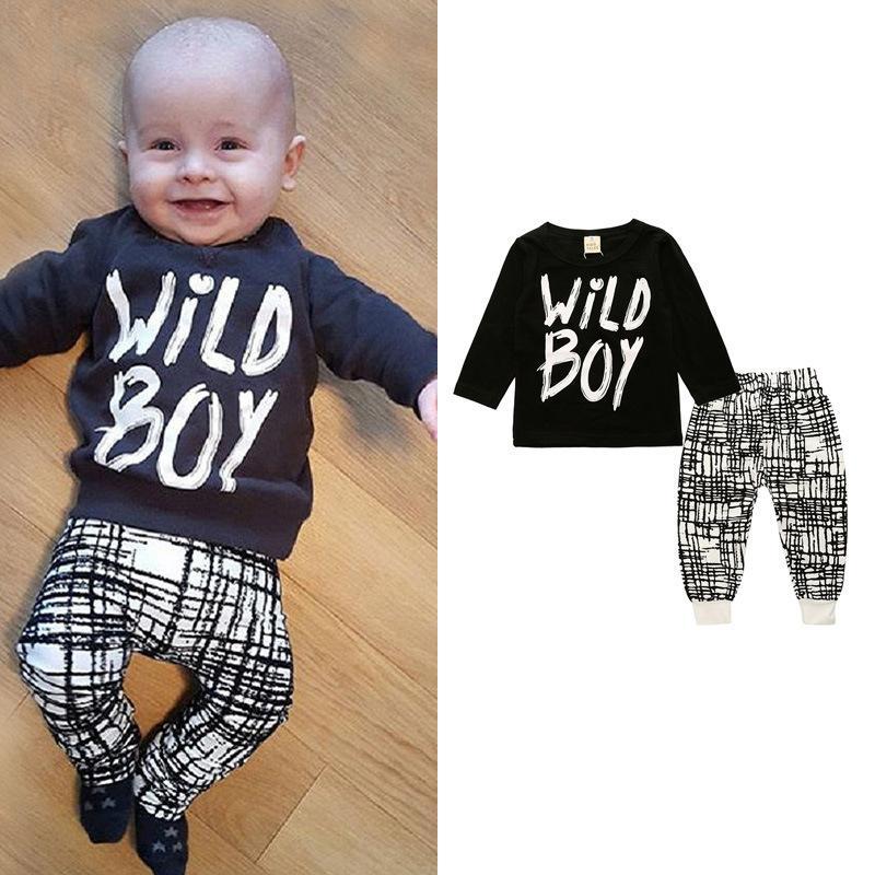 Infant Pyjamas Baby Kleidung Sets Boy Langarm Frühling Herbst Winter Outfits Set Kleinkind Brief Anzüge Baby Mädchen Neugeborene Kleidung Set