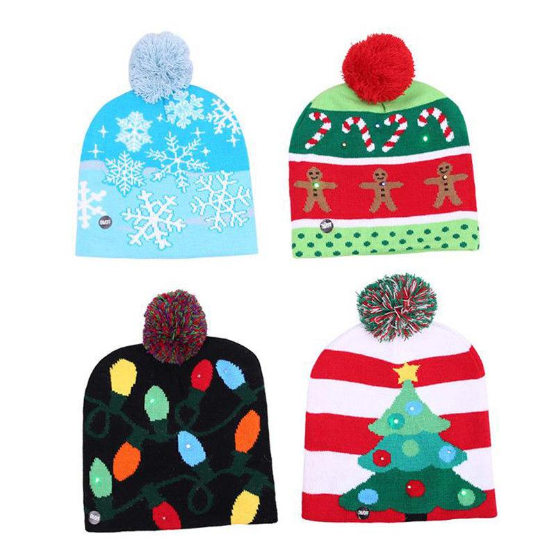 82a1a78ae 2018 New Funny LED Knitted Christmas Hat Kids Adults Warm Hat New Year  Christmas Decoration Party Tree Snowflake