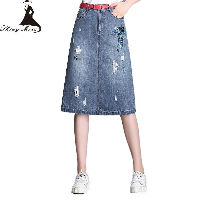 3e5113f26cd7 2019 SHINYMORA Women Long Jeans Skirts Embroidery High Waist A Line Hole Denim  Skirts Ladies Knee Length Slim Plus Size Jeans From Vanilla01