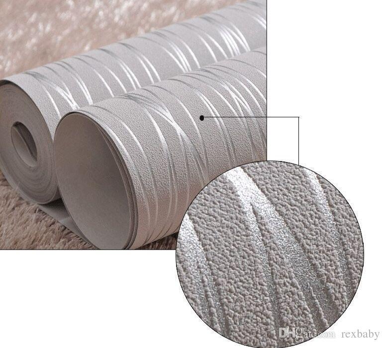 Vlies Mode Dünne Beflockung Vertikale Streifen Tapete Für Wohnzimmer Sofa Hintergrund Wände Home Wallpaper 3D Grau Silber