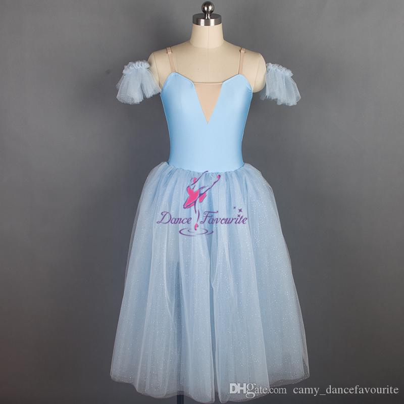 63e4368bc6f8 Sparkling Light Blue Long Romantic Style Ballet Dance Costume Soft ...
