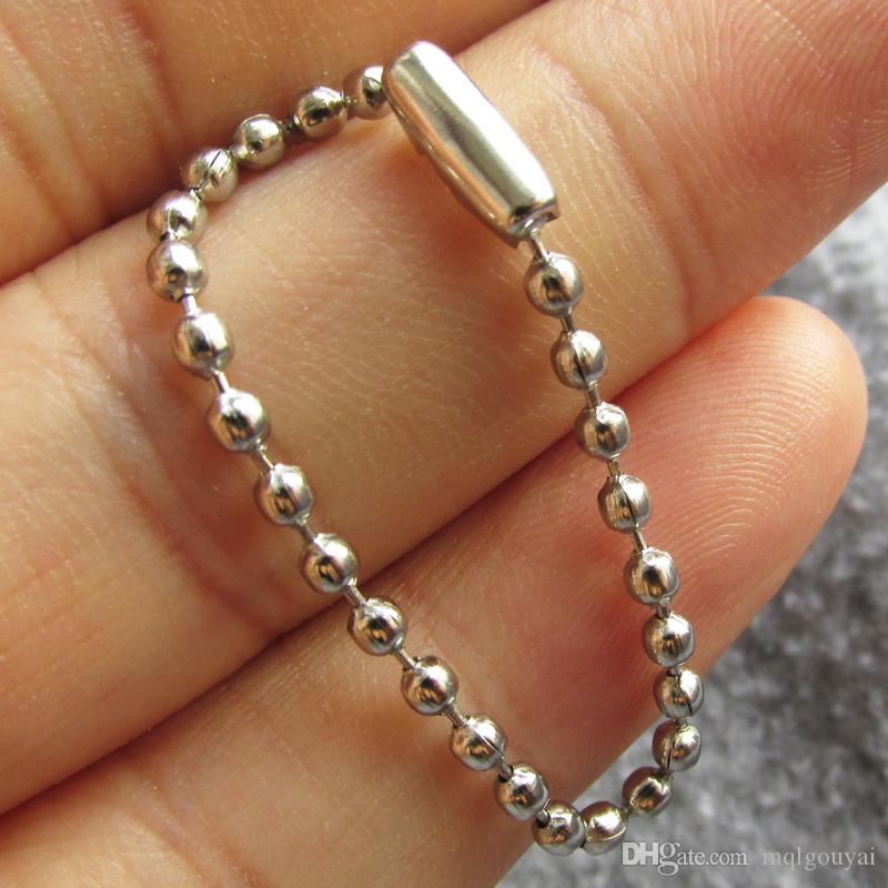 100pcs/lot 10cm mental bead chains with mirror polished surface for dog tags and small pendants
