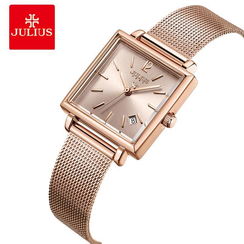 2be3f48674b Compre Julius Mulheres Pulseira De Malha De Aço Inoxidável Relógios Data De  Exibição Senhoras Relógio De Quartzo De Luxo Praça Rosa De Ouro Feminino  Relógio ...