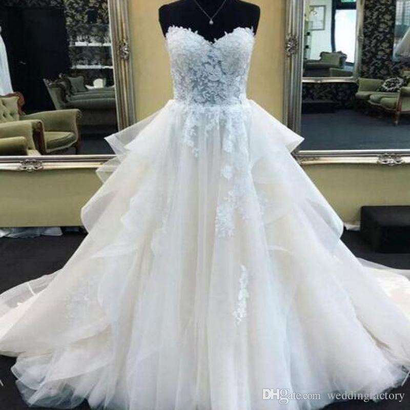 125aef1fa112 Discount 2019 Gorgeous A Line Wedding Dresses Sweetheart Lace Appliques  Illusion Top Ruffles Tulle A Line Bridal Gowns High Quality Wedding Dresses  Under ...