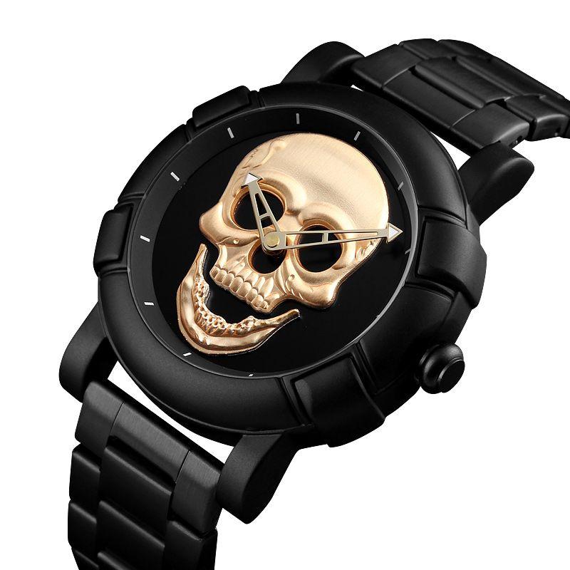 ffaae70200e Luxury Brand SKMEI 3D Skull Quartz Watch Men Creativity Watches Stainless Steel  Male Clock Water Resistant Wristwatch Relogio Masculino 9178 Wristwatches  ...