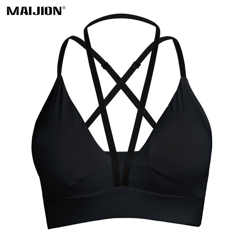 d8600256c3 MAIJION Sexy Deep V Shockproof Sport Bra Women Backless Fitness Yoga Bra  Tops Push Up Athletic Underwear Running Gym Padded Vest Yoga Bra Women Yoga  Bra ...