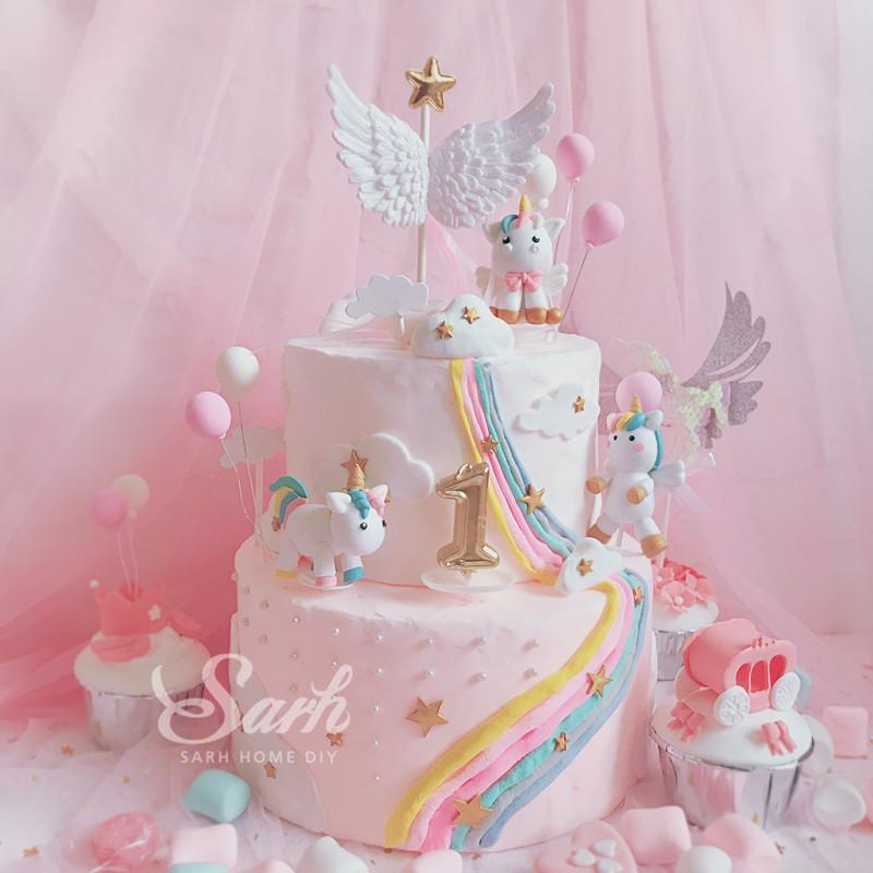 Grosshandel Rosa Weisse Einhorn Sammlung Kuchen Dekoration