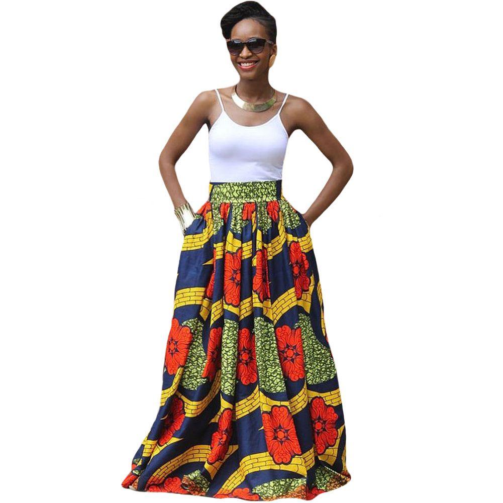 589b71624c 2019 2017 Fashion Women African Print Long Skirt Ankara Dashiki High Waist  A Line Maxi Long Umbrella Skirt Ladies Jupe Longue Femme From Qinfeng07, ...