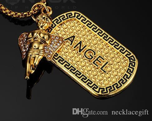 New year high quality hip hop 18k Gold Plated Angel army Necklace Fashion Jewelry Gift army Present souvenir necklace Street dance