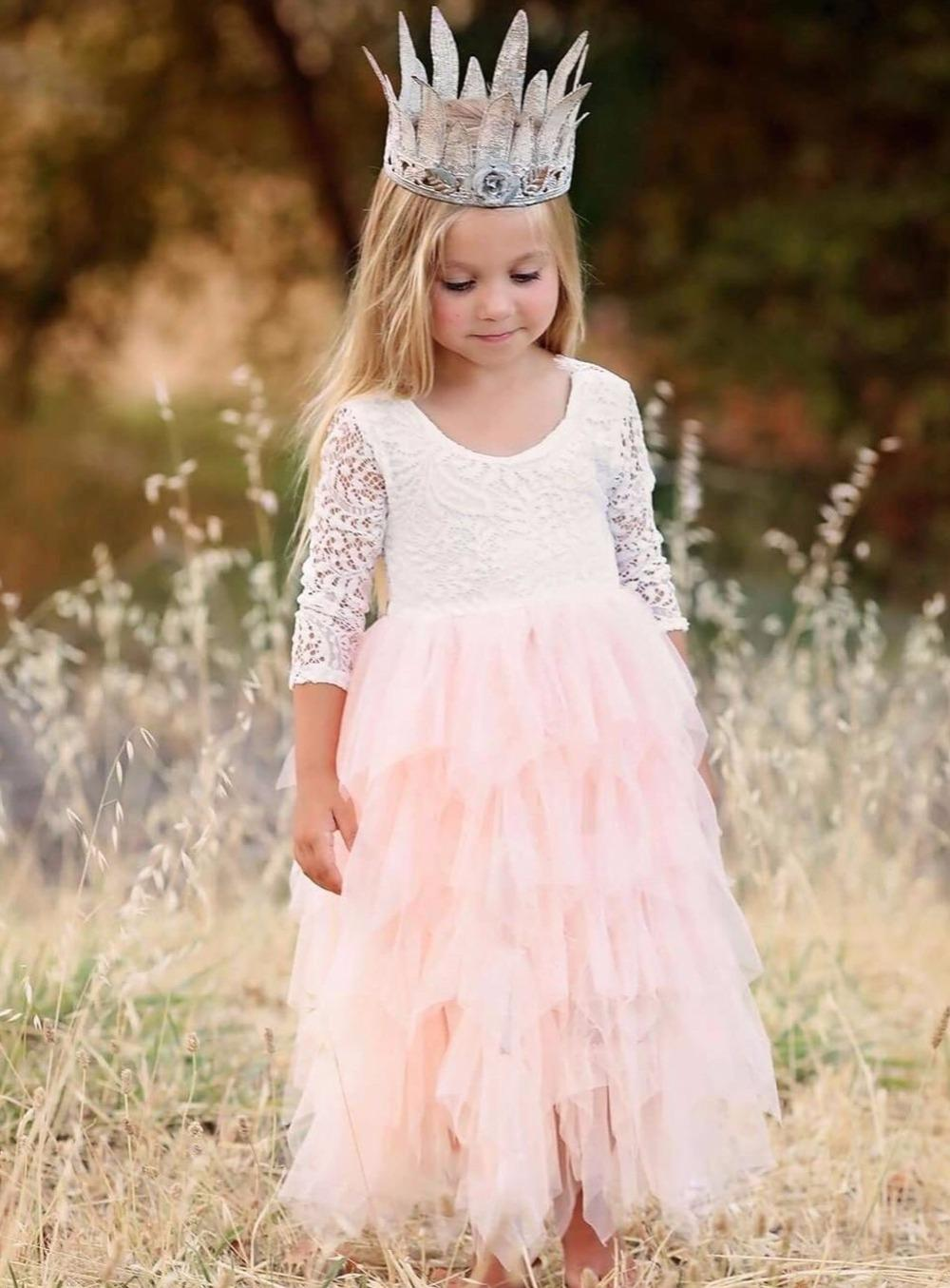 97156957ee6 New Arrival Puffy Lace Pink Flower Girl Dresses 2018 Soft Tiered Tulle Ball  Gown Pageant Dresses For Girls Communion Modest Flower Girl Dresses Online  ...