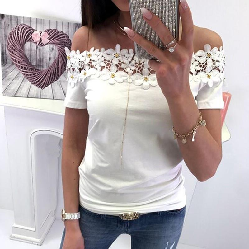 3fbbb48b4b07cc 2019 Summer Women s Hollow Out Flower Lace Lined T-shirt Sexy Slash Neck Off  the Shoulder Short Sleeve Tops Blusas Shirts Online with  31.38 Piece on ...