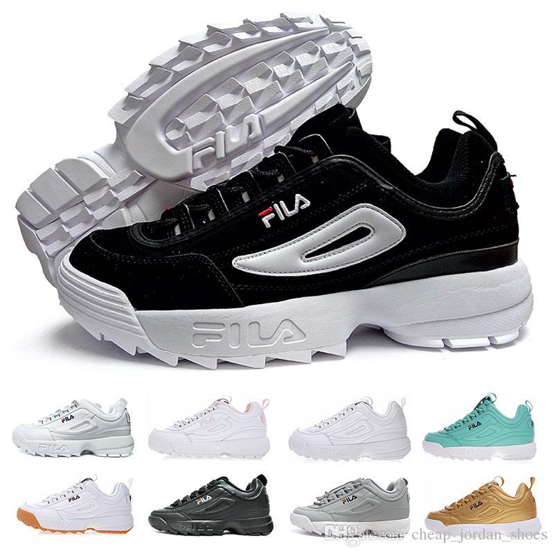 61b2b0ba1f918 Acheter Designer FILA Disruptors II 2 Femmes Chaussures Occasionnelles  Triple Blanc Noir Gris Hommes Chaussures De Sport Baskets FILA Augmenté  Chaussures De ...