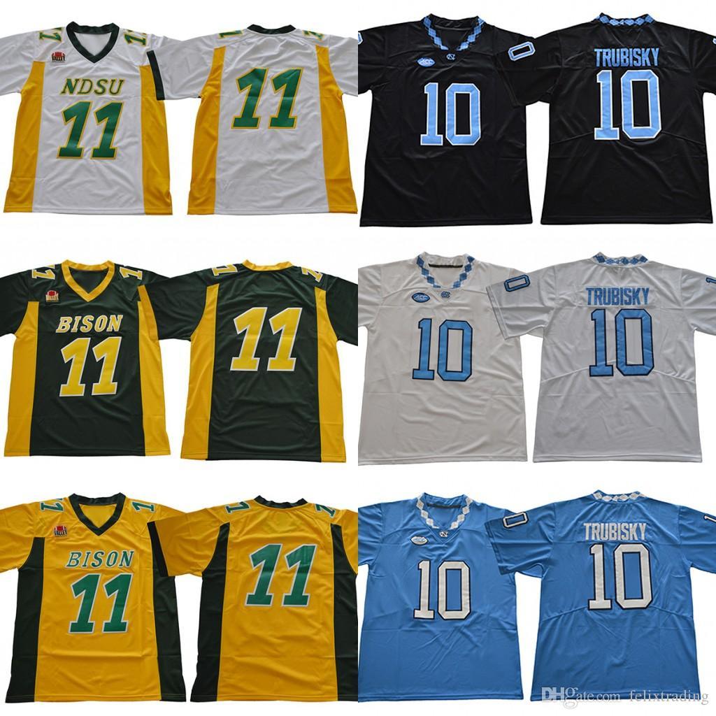 cheap for discount da41c 06d60 North Carolina 10 Mitch Trubisky North White Blue Black Dakota State Bison  11 Carson Wentz Stitched Men college Football Jersey