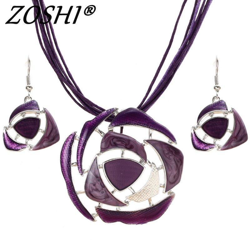 ZOSHI Enamel Jewelry Sets Colorful Gem Silver Pendant Geometry Choker Necklace Earrings Set Boho Style Wholesale Jewelry Sets
