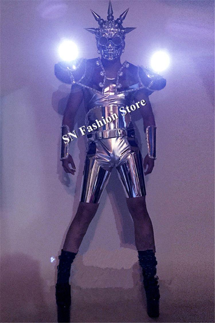 BC21 Ballroom dance dj men wears clothes stage show led costumes luminous light dancer suit mask led shoulder vest robot mirror performance