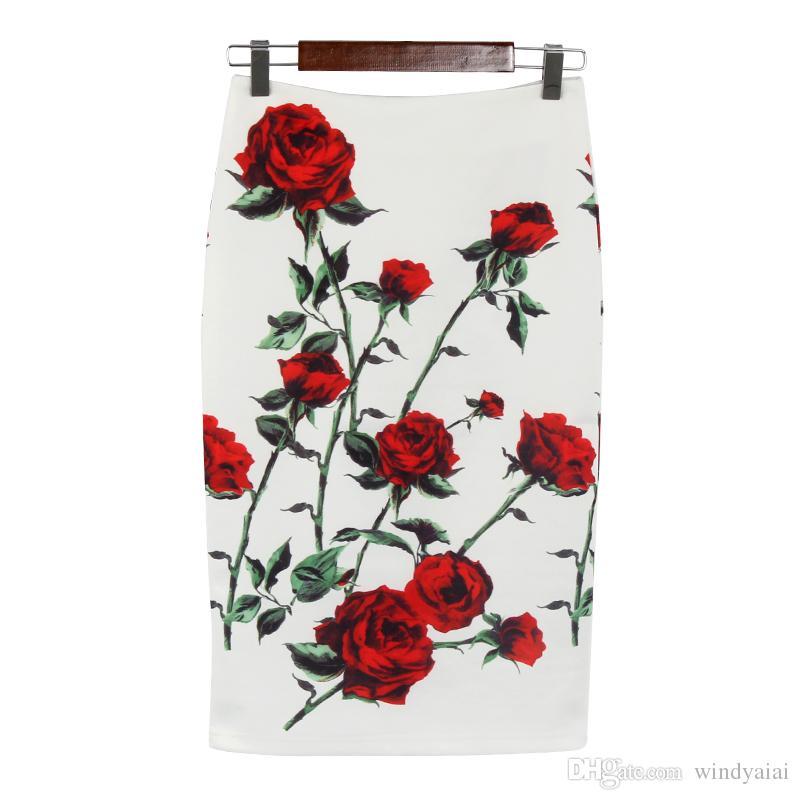 Женщин Тонкий Офис Сексуальная Мода Высокой Талией Юбки Весна Пляж Цветы Печати Тонкий Юбки